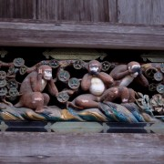 The (original) three wise monkeys: hear no evil, see no evil, speak no evil. They adorn the stable of the sacred white horse.