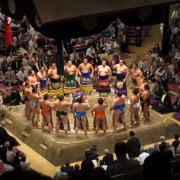 Each rank of wrestlers performs a ceremony (dohyo-iri) upon entering the arena.