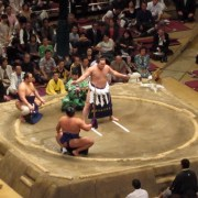 The yokozuna (the highest rank of wrestler) performs a special dohyo-iri wearing shide (zigzag paper strips used in Shinto).